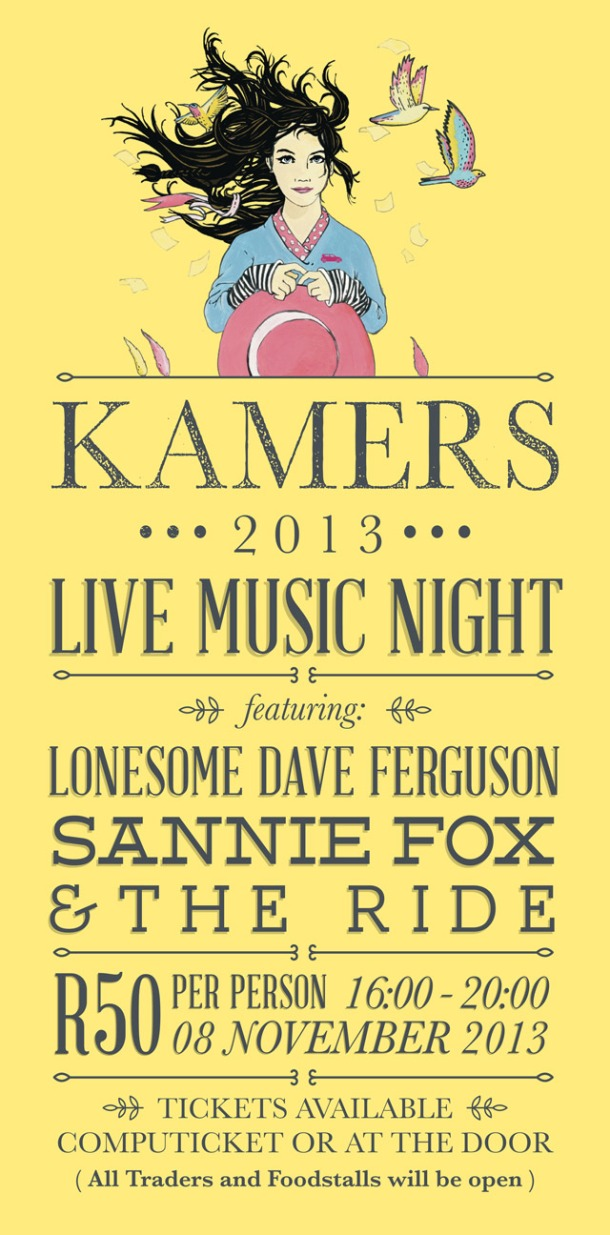 Lonseome Dave Ferguson, Sannie Fox and The Ride performing LIVE at KAMERS Stellenbosch 8 Nov 2013