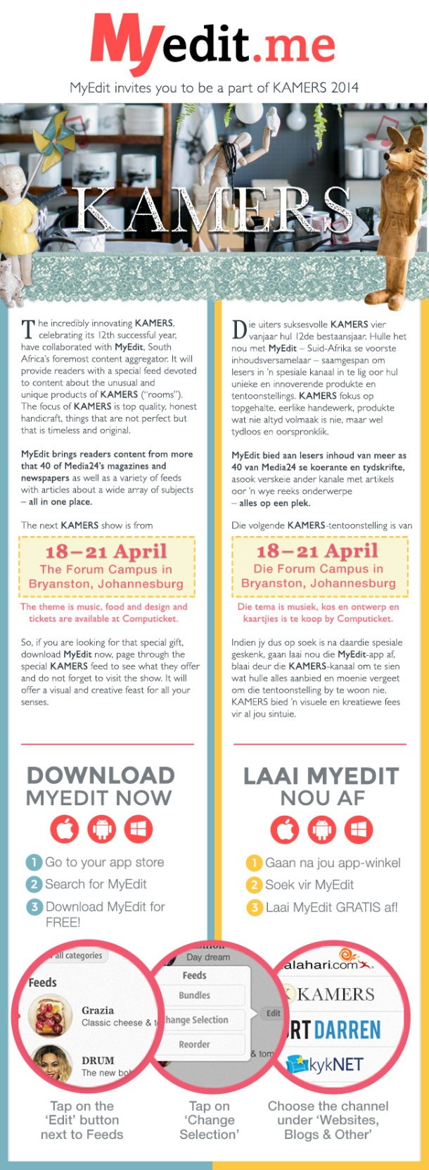 MyEdit invites you to be a part of KAMERS 2014 Easter in Joburg, 18-21 April. | www.kamersvol.com | www.myedit.me