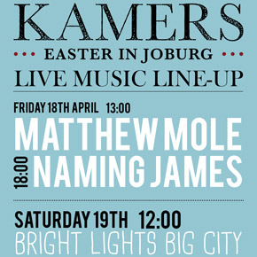 Live Music Line-Up at KAMERS Easter in Joburg
