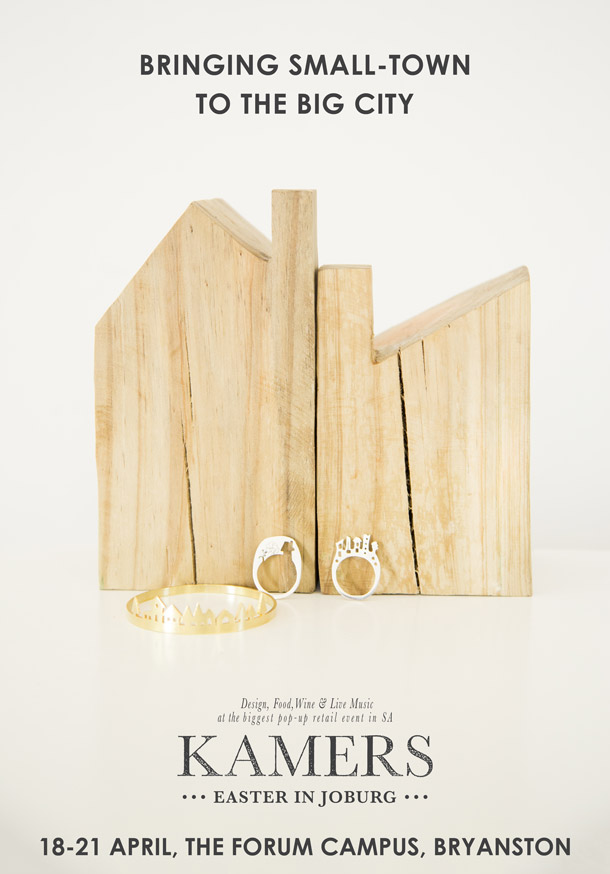 Cut-out Town Silhouette Rings and Bangle and Wooden Houses - available at KAMERS 2014 Joburg & Cape Town