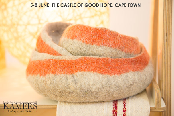 Organic Filt Bowls for KAMERS & CCDI Trading at the Castle, 5-8 June, World Design Capital Cape Town 2014