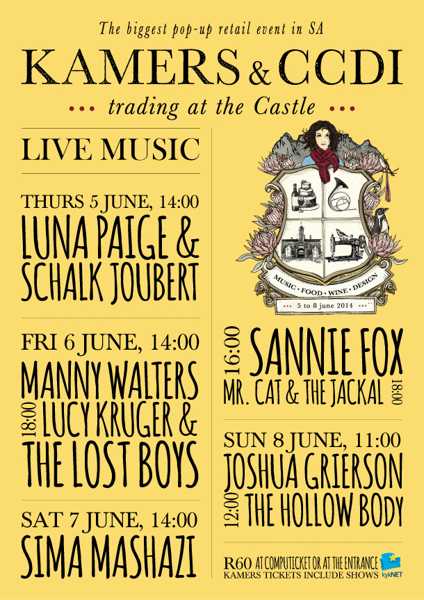 Live music line-up for KAMERS & CCDI: Trading at the Castle - World Design Capital Cape Town 2014 - 5-8 June