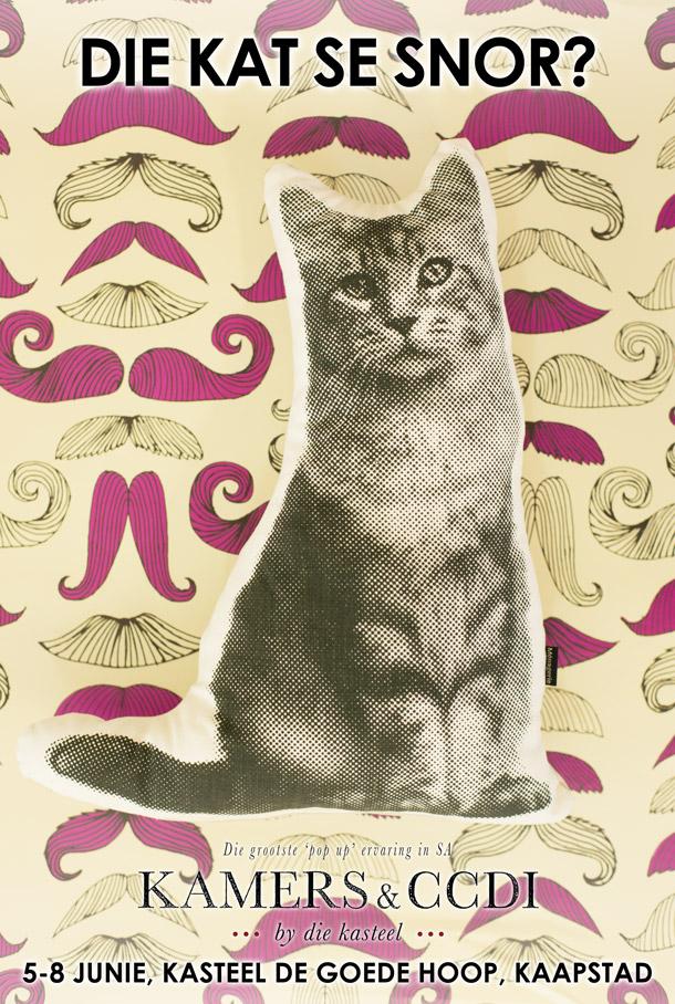 Die kat se snor? Kry jou kietsie kussing en snorgeskenkpapier by KAMERS in die kasteel.