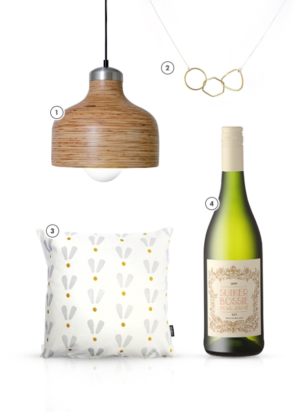 Zana's Favourite Product Picks for KAMERS 2014 Trading at the Castle - blog.kamersvol.com - Plywood lamps, Linked necklace, Printed scatter cushion, Suikerbossie white wine