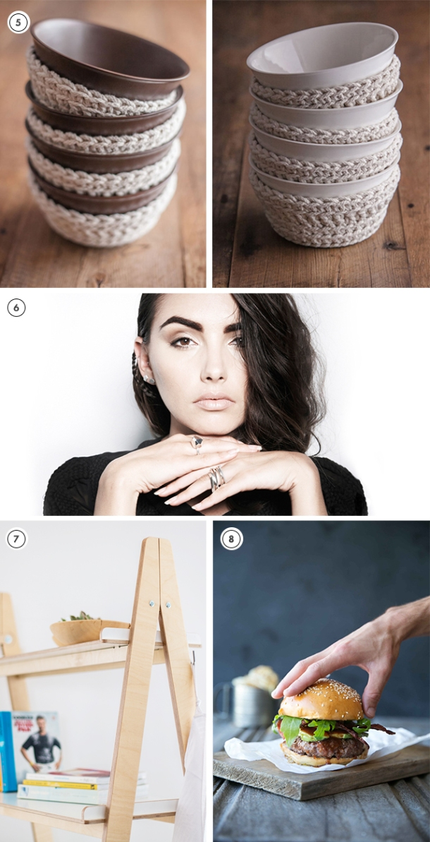 Zana's Favourite Product Picks for KAMERS 2014 Trading at the Castle - blog.kamersvol.com - Bowls with crochet covers, Famke Jewellery rings and earrings, Hemma Scandinavian-style flatpack shelves, Gourmet burgers