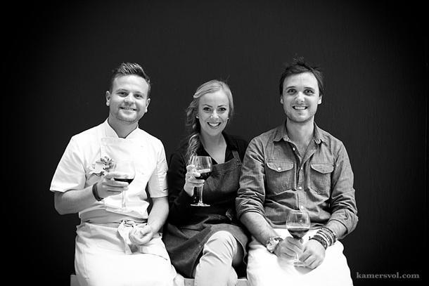Johnny Hamman, Alet van der Westhuizen en Marius Uys van kykNET Kokkedoor 2014 kook by KAMERS 2014 Stellenbosch, 4-9 Nov, as Borsspeld, Bangles en 'n Blond