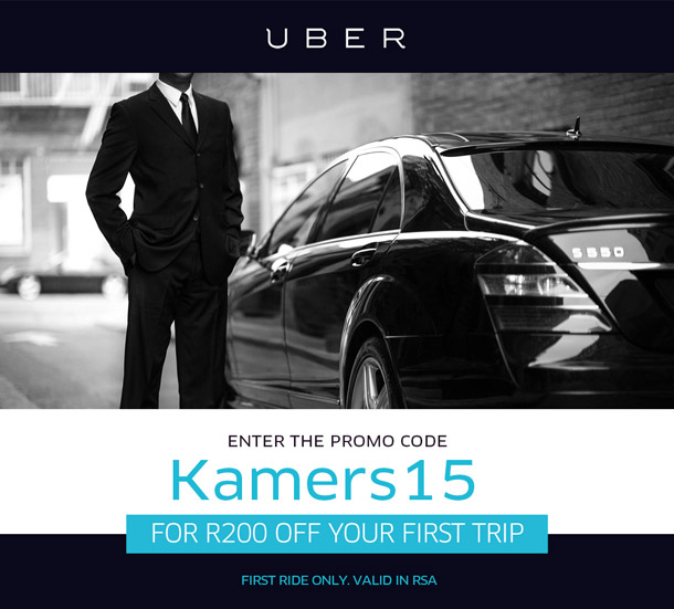 Use Uber to travel to and from KAMERS Cape Town and get R200 off